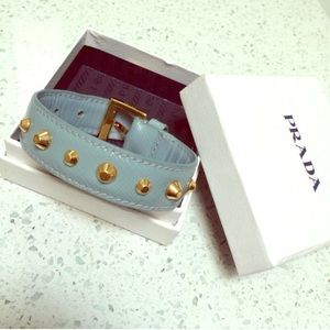 Authentic blue Prada gold stud bracelet