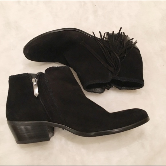 af3bb29097b6a4 Sam Edelman Paige black suede fringe ankle bootie.  M 57a58dbcf092823cfe001622