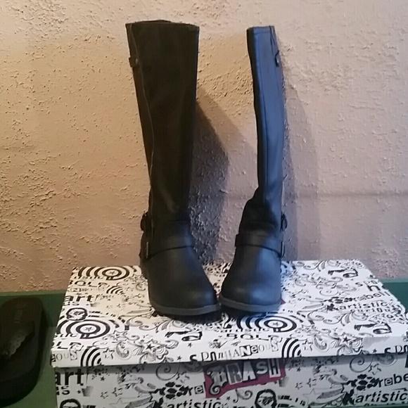 Brash Wide Calf Black Womens Boots 85
