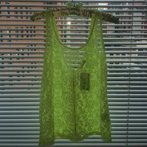 Highlighter Yellow Lace top w/ Zipper Back Size:M