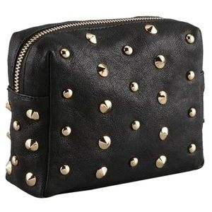 Be & D Handbags - Be & D Luxe Leather Studded Cosmetic Bag, Black