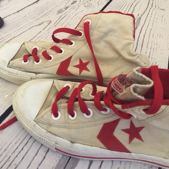 23ce2d943f Converse Shoes - Retro old school high top converse red laces