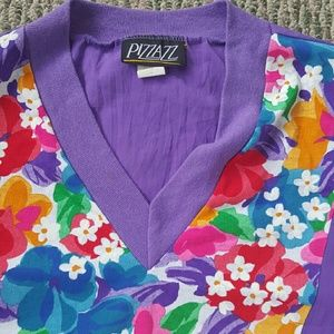 FINAL SALE! Vintage Pizzazz purple & floral top.