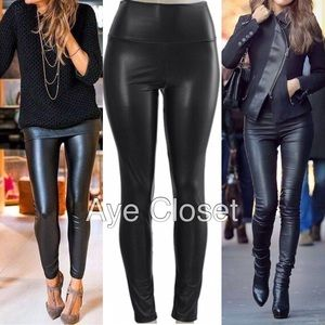 faux leather leggings high waisted Fleece lined