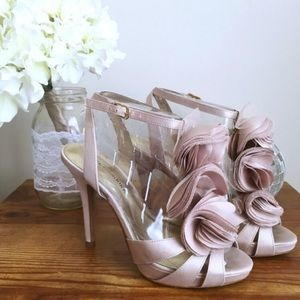 Audrey Brooke Shoes - 🎉HP🎉 Satin heels with ruffle detail