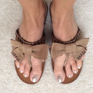 Delman Shoes - Delman tan ribbon sandals
