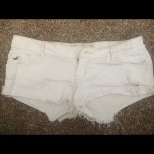 Hollister white distressed shorts