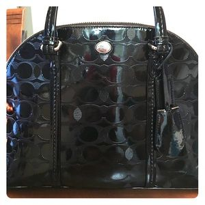 Coach  Black Leather Cora Domed Satchel.