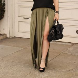 Tobi Dresses & Skirts - Double slit olive maxi skirt