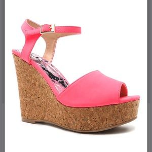 NWT neon pink wedges