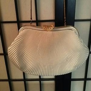 Cream satin fan style cocktail bag
