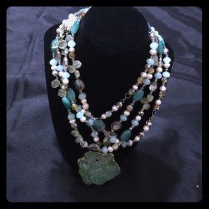 Green genuine stone bead statement necklace -JW-85