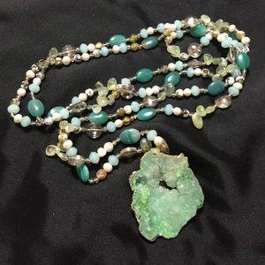 Jewelry - Green genuine stone bead statement necklace -JW-85
