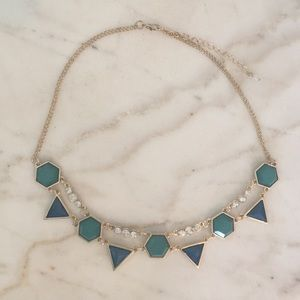 Teal and blue statement necklace