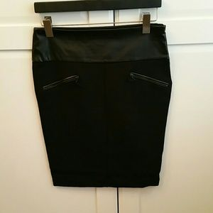 Zara back pencil skirt with faux leather waist