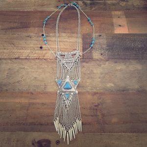 Jewelry - Silvertone Tribal Statement Necklace