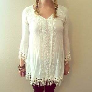 Astr Lace and fringe blouse