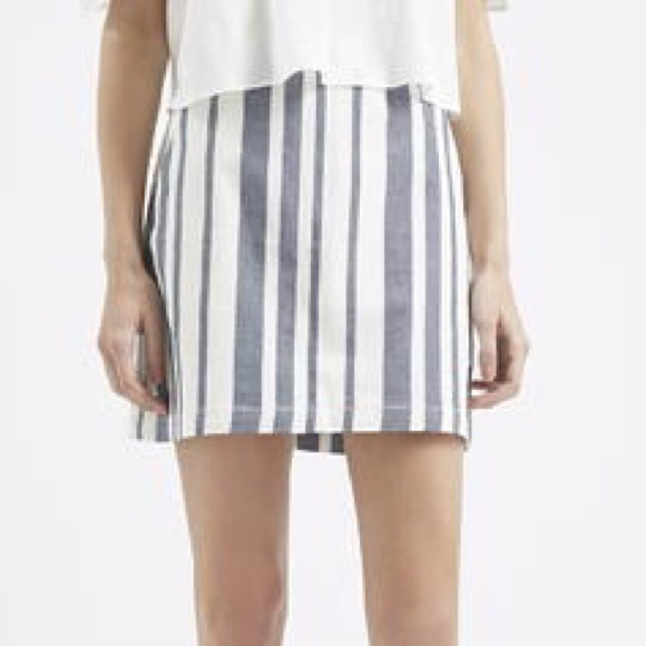 68% off Topshop Dresses & Skirts - Topshop Blue Striped Denim ...