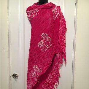 Large pink scarf w/ palm tree print & tassels