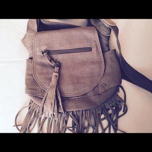 Beige fringed American Eagle crossbody bag