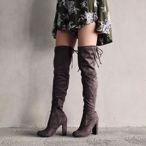 Shoes - Dark Grey Over The Knee Suede Boots