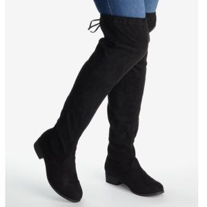 Shoes - Over the Knee Flat Suede Boots