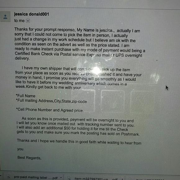 Scammers. Please beware sellers