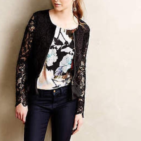 66% off Anthropologie Sweaters - Anthropologie black lace zip up ...
