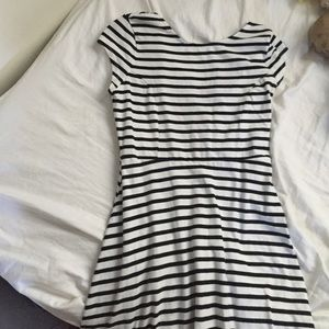 Striped dress w/ cap sleeves.