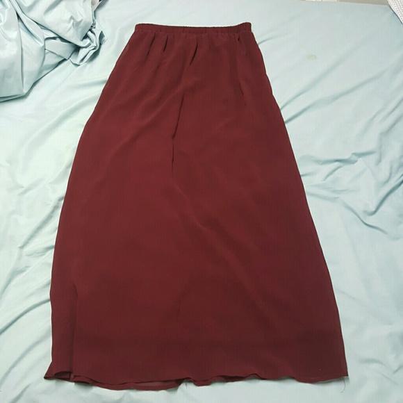 Forever 21 - Burgundy chiffon maxi skirt from Lauren's closet on ...