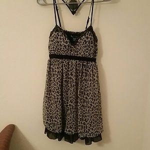 Adorable leopard print chiffon mini dress