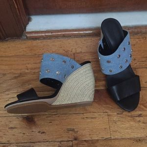 NEW REBECCA MINKOFF LEATHER & DENIM STUD MULES/7