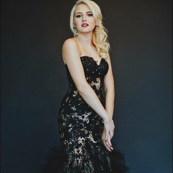 Jovani Dresses Black And Gold Mermaid Corset Prom Dress Poshmark