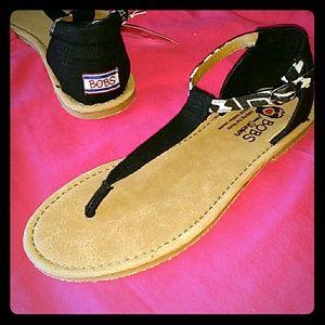Bobs Black Thong Sandals 8