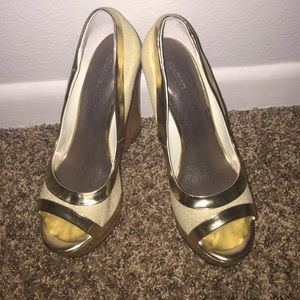 Adrienne Maloof Shoes - Gold Wedge Heels