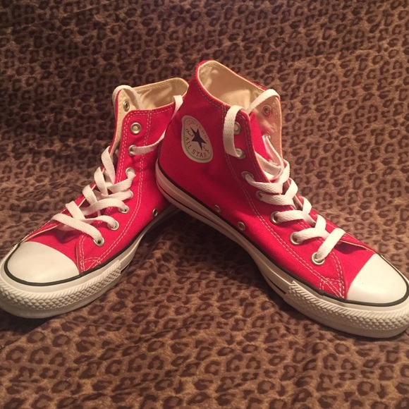 c4afe079e4 Converse Shoes - Red high top converse. Worn once inside !