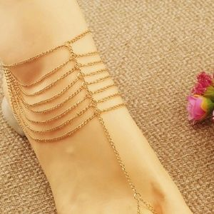Jewelry - Beach Multi Tassel Toe Chain Link Anklet
