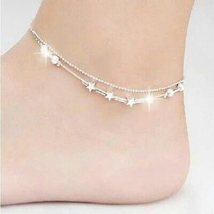 Jewelry - Silver, Star Double Chain Anklet Bracelet