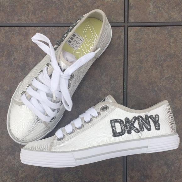 54 dkny shoes dkny silver metallic tennis shoes
