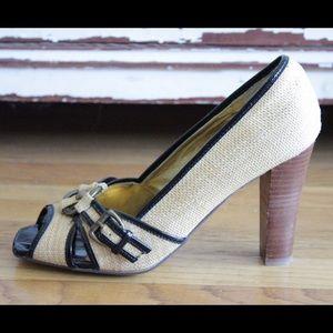 naughty monkey Shoes - Beige & black peep toe heels w/brass buckle new