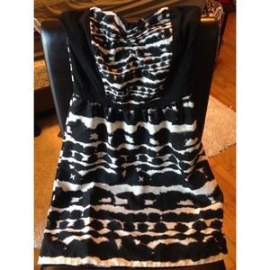 Black Patterned Strapless Dress