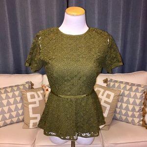 C. Wonder Green Lace Peplum Top