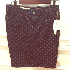 Pilcro denim polka dot skirt from anthropologie