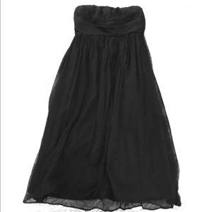 J Crew 100% silk chiffon black strapless dress