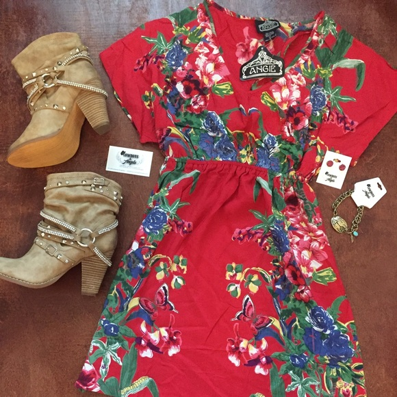 Angie Dresses & Skirts - RED FLORAL DRESS
