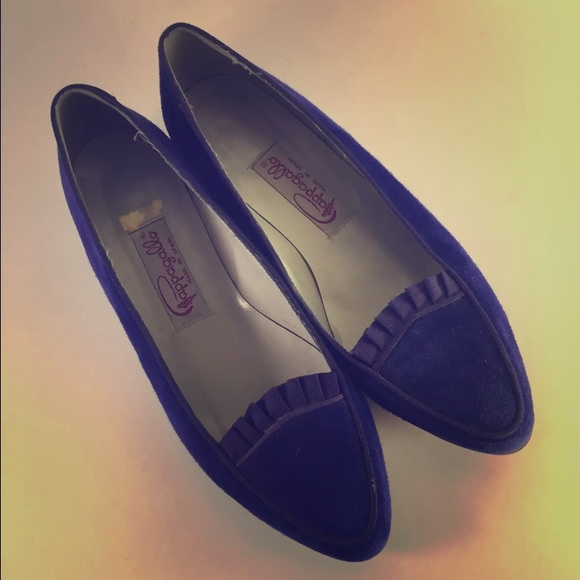 Womens Pappagallo Blue Suede Ballet