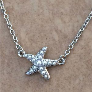 Silver Tone White Pearl Starfish Nautical Necklace