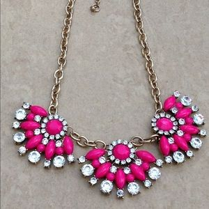 Gold Tone Hot Pink Crystal Statement Necklace