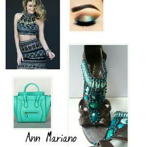 Ann Marino Shoes - BNWOT! STUNNING TURQUOISE & BROWN JEWELED HEELS