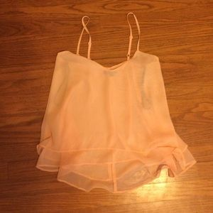 Tops - Peach Sheer Flowy Ruffled Top. Size Small.